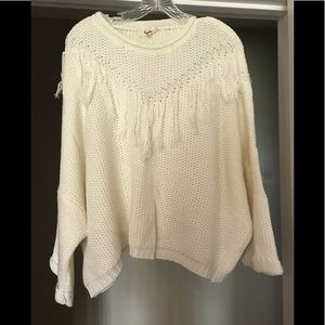 White fringe sweater, size medium